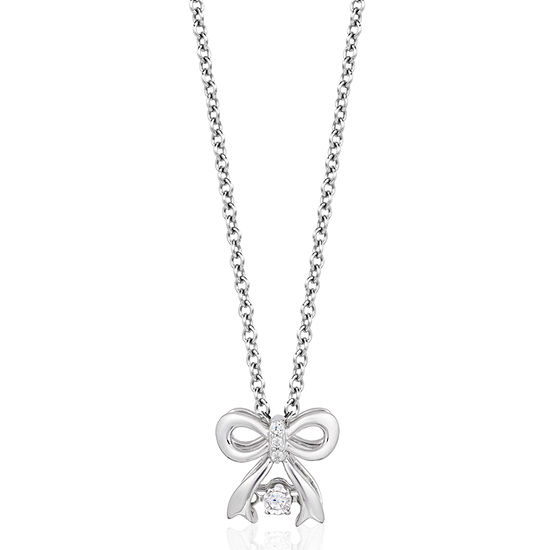 Enchanted Disney Fine Jewelry Genuine White Diamond 10K White Gold Bow Snow White Pendant Necklace