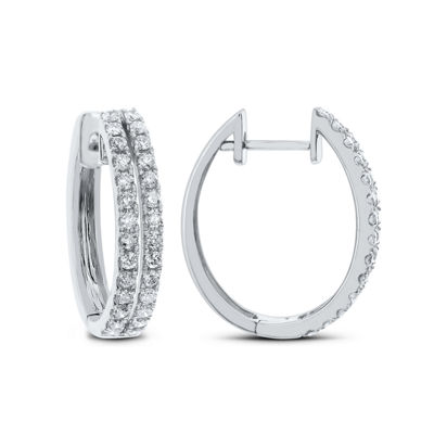 1 CT. T.W. GENUINE White Diamond 14K Gold 22.9mm Hoop Earrings