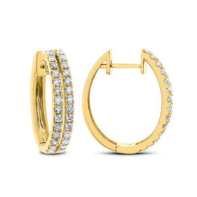 1 CT. T.W. GENUINE White Diamond 14K Gold 22.9mm Hoop Earrings