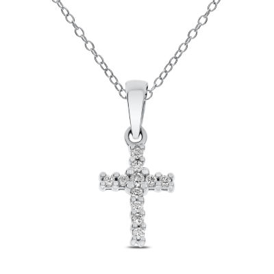 Womens 1/10 CT. T.W. Genuine White Diamond 14K Gold Cross Pendant Necklace