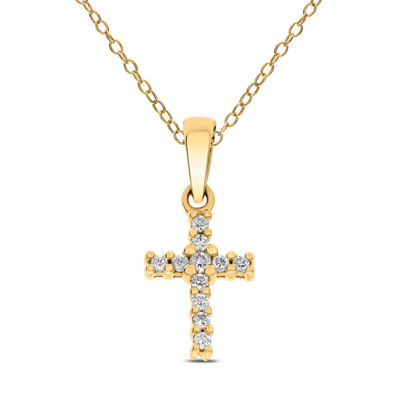 Womens 1/10 CT. T.W. White Diamond 14K Gold Pendant Necklace