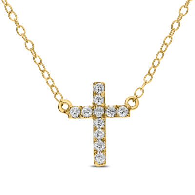 Womens 1/8 CT. T.W. Genuine White Diamond 14K Gold Cross Pendant Necklace