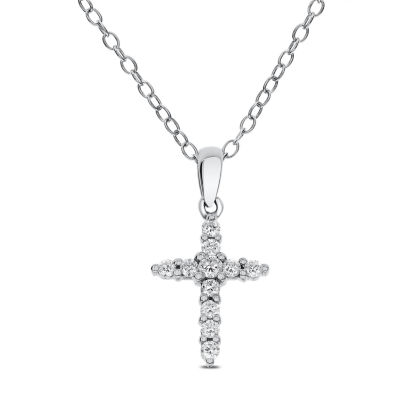 Womens 1/5 CT. T.W. Genuine White Diamond 14K Gold Cross Pendant Necklace