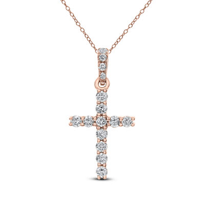 Womens 1/4 CT. T.W. Genuine White Diamond 14K Gold Cross Pendant Necklace