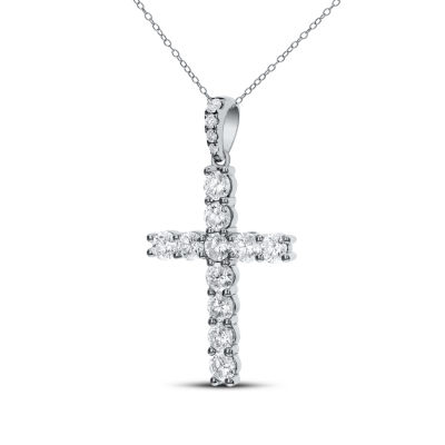 Womens 2 CT. T.W. Genuine White Diamond 14K Gold Cross Pendant Necklace
