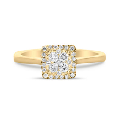 Womens 1/4 CT. T.W. Genuine White Diamond 14K Gold Cluster Ring