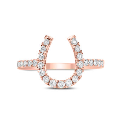 Womens 3/8 CT. T.W. Genuine White Diamond 14K Gold Delicate Ring