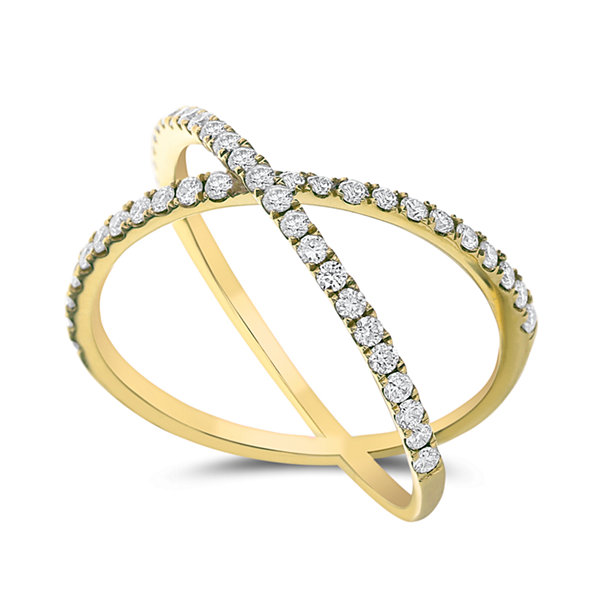 Womens 1/2 CT. T.W. Genuine White Diamond 14K Gold Bypass Ring