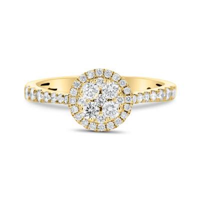 Womens 1/2 CT. T.W. Round White Diamond 14K Gold Cluster Ring