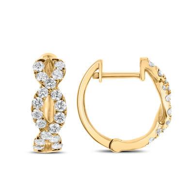 5/8 CT. T.W. GENUINE White Diamond 14K Gold 14.4mm Hoop Earrings