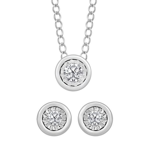 Womens 2-pc. 1/10 CT. T.W. White Diamond Sterling Silver Jewelry Set