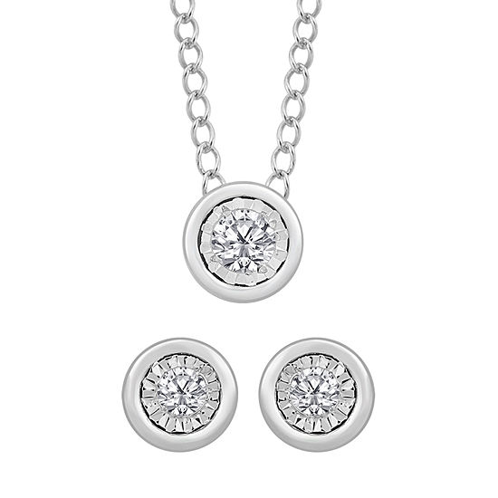 1/10 CT. T.W. Genuine White Diamond Sterling Silver 2-pc. Jewelry Set