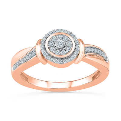 Womens 1/5 CT. T.W. Genuine White Diamond 10K Rose Gold Engagement Ring
