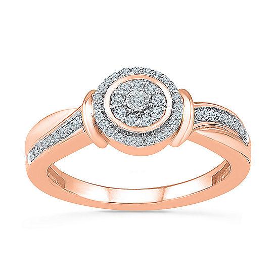Womens 1/5 CT. T.W. Genuine White Diamond 10K Rose Gold Engagement Ring