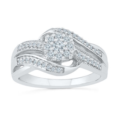 Womens 1/3 CT. T.W. Round White Diamond Sterling Silver Engagement Ring