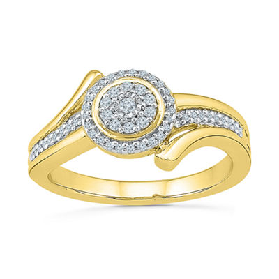 Womens 1/5 CT. T.W. Genuine White Diamond 10K Gold Engagement Ring
