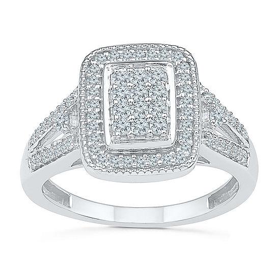 Womens 1/2 CT. T.W. Genuine White Diamond 10K White Gold Engagement Ring