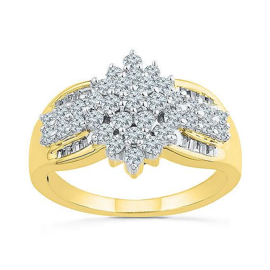 Womens 7/8 CT. T.W. Genuine White Diamond 10K Gold Engagement Ring