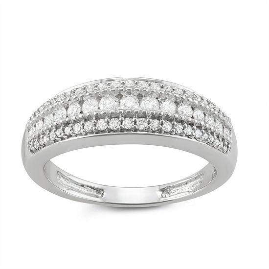 2.5MM 1/2 CT. T.W. Genuine White Diamond 10K White Gold Wedding Band
