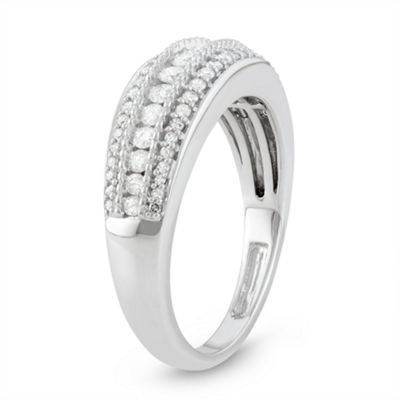 Womens 2.5MM 1/2 CT. T.W. Genuine White Diamond 10K White Gold Wedding Band