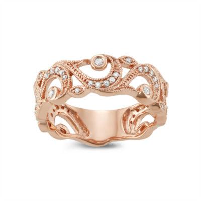 Womens 6MM 1/4 CT. T.W. Genuine White Diamond 10K Rose Gold Wedding Band