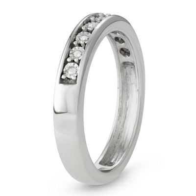 Womens 3mm Diamond Accent Genuine White Diamond Sterling Silver Wedding Band
