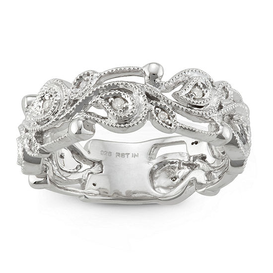 Womens 6.5MM 1/10 CT. T.W. Genuine White Diamond Sterling Silver Wedding Band