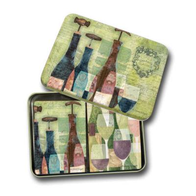 LANG Bottles & Glasses Tin Playing Cards