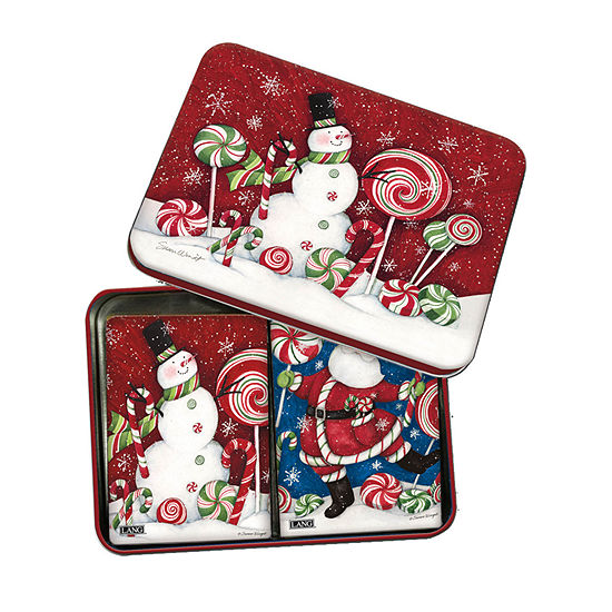 LANG Peppermint Christmas Tin Playing Cards