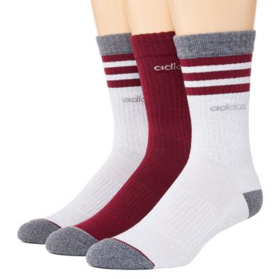 adidas Core 3 Stripe 3 Pair Crew Socks-Mens