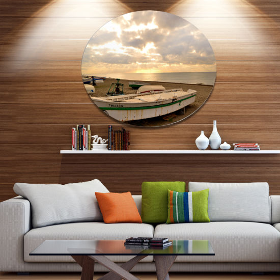 Designart Rincon De La Victoria Beach Disc Seascape Metal Circle Wall Art