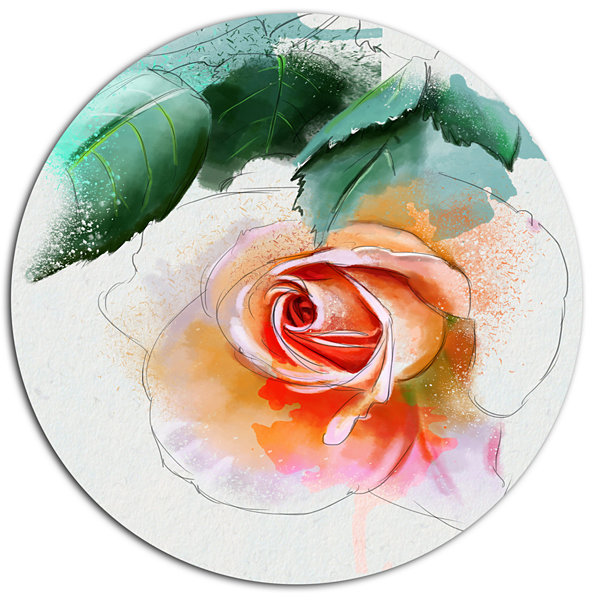 Designart Beautiful Red Rose with Leaves Disc Floral Metal Circle Wall Art