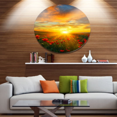 Designart Bright New Day over Poppy Fields Disc Floral Metal Circle Wall Art
