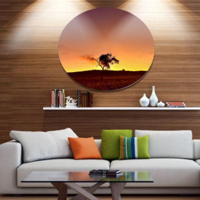 Designart Solitary Tree in Namib DesertAfrican Landscape Metal Circle Wall Art