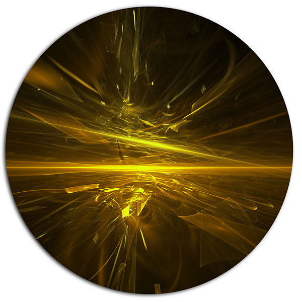 Designart Bright Golden Chaos Fractal DesignContemporary Abstract Wall Art