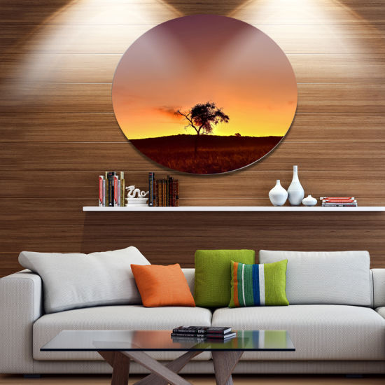 Designart Solitary Tree in Namib DesertAfrican Landscape Metal Circle Wall Art