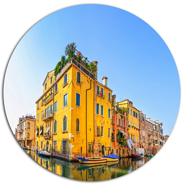 Designart Venice Cityscape Water Canal Disc Abstract Metal Artwork