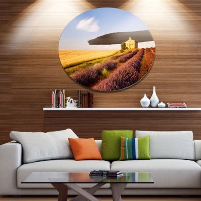 Designart Grain Fields with Lavender Rows Disc Landscape Metal Circle Wall Art