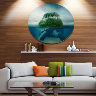 Designart Giant Turtle Carrying Island Disc Oversized Abstract Metal Art