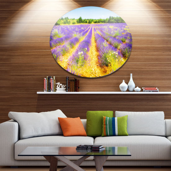 Designart Fantastic Lavender Field of France DiscFloral Metal Circle Wall Art