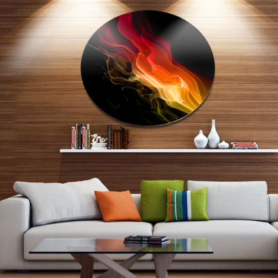 Designart Yellow Red 3d Abstract WavesContemporaryAbstract Wall Art