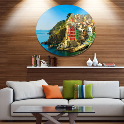 Designart Riomaggiore Village Rocky Beach Disc Seascape Metal Circle Wall Art