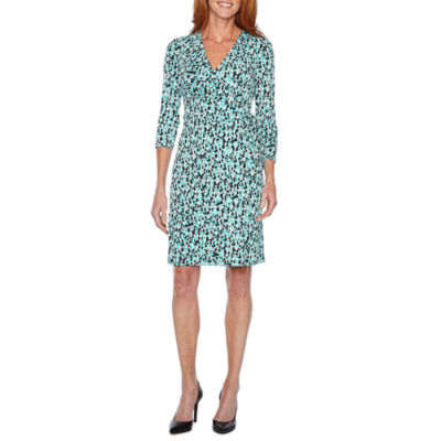 Black Label by Evan-Picone 3/4 Sleeve Confetti Wrap Dress