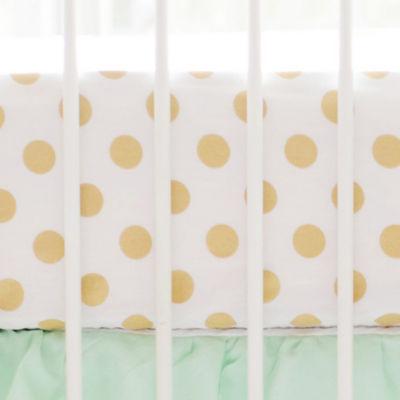 My Baby Sam Gold Polka Dot Crib Sheet