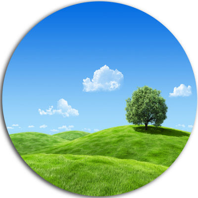 Designart Calm Meadow with Single Tree Landscape Circle Metal Wall Art