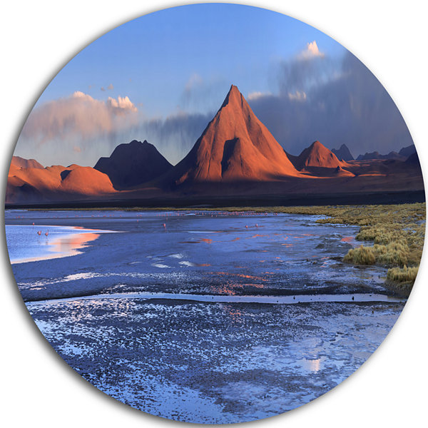 Designart Colorado Lagoon and Volcano Pabellon Landscape Round Circle Metal Wall Art