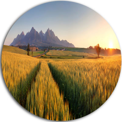 Designart Path in the Wheat Field Landscape RoundCircle Metal Wall Art