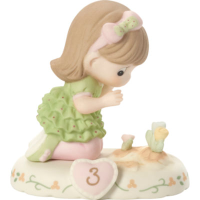"""Precious Moments  """"Growing In Grace  Age 3""""  Bisque Porcelain Figurine  Brunette Girl  #142012B"""