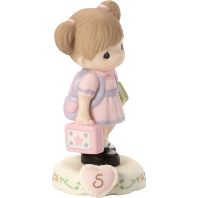 "Precious Moments  ""Growing In Grace  Age 5""  Bisque Porcelain Figurine  Brunette Girl  #152011B"