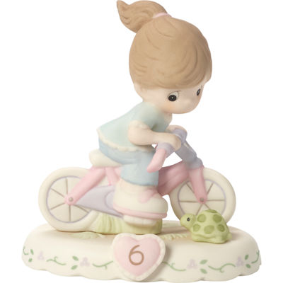 "Precious Moments  ""Growing In Grace  Age 6""  Bisque Porcelain Figurine  Brunette Girl  #152012B"